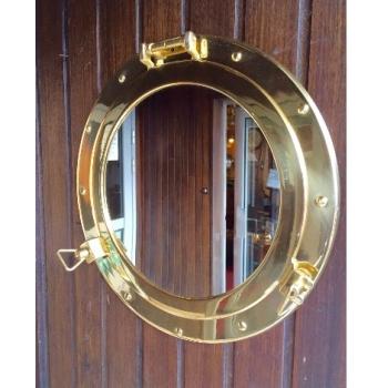 miroir hublot laiton ouvrant 37 5 cm d coration marine. Black Bedroom Furniture Sets. Home Design Ideas