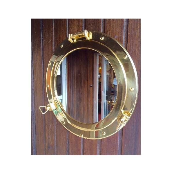Miroir hublot laiton ouvrant 37 5 cm d coration marine for Hublot ouvrant encastrable