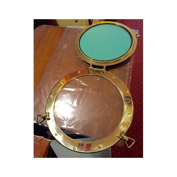Miroir hublot laiton ouvrant 37 5 cm d coration marine for Miroir laiton