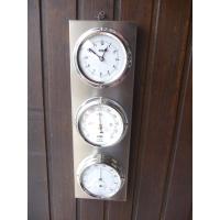 Station 3 cadrans  pendule baromêtre thermomètre hygromètre support inox