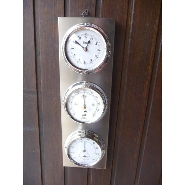 Station 3 cadrans pendule barom tre thermom tre hygrom tre - Thermometre exterieur decoratif ...