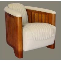 Fauteuil club canoé cuir ivoire