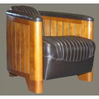 Fauteuil club canoé cuir brun