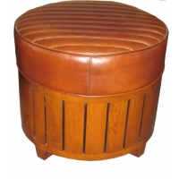 Pouf canoé cuir vintage