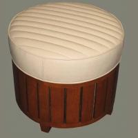 Pouf canoé cuir ivoire
