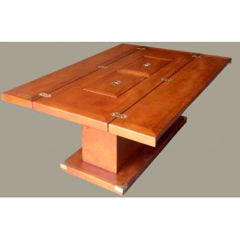 Table basse bar de salon marine en bois et laiton mobilier marin - Table de salon bar ...