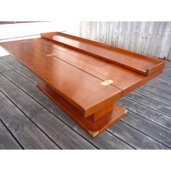 table basse bar de salon marine en bois et laiton. Black Bedroom Furniture Sets. Home Design Ideas
