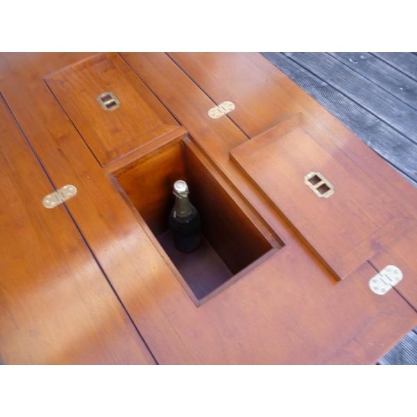 Table basse bar de salon marine en bois et laiton – Mobilier ...