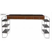 Grand meuble bureau inox bois et cuir