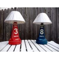 PAIRE DE LAMPES BALISES BOIS ROUGE ET BLEUE