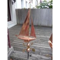 Girouette bateau goélette cuivre et laiton