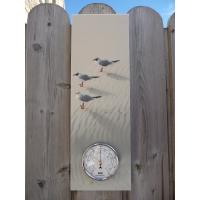 Baromètre sur tableau oiseaux mouettes